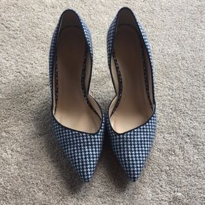 Jcrew navy houndstooth fabric heels